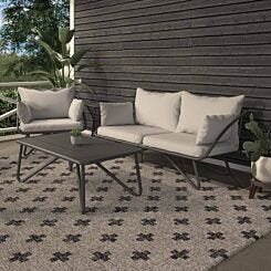 Teddi Outdoor Loveseat and Coffee Table with Rain Covers