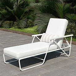 Connie Multi Position Lounger with Rain Cover White