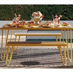 Paulette Table and Bench Set Yellow