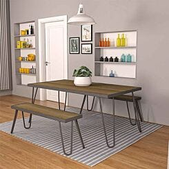 Paulette Table and Bench Set Charcoal Grey