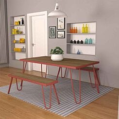 Paulette Table and Bench Set Red