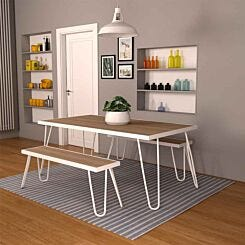 Paulette Table and Bench Set White