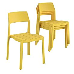 Chandler Stackable Dining Chairs Pack of 4 Yellow