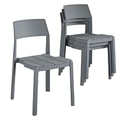 Chandler Stackable Dining Chairs Pack of 4 Charcoal Grey