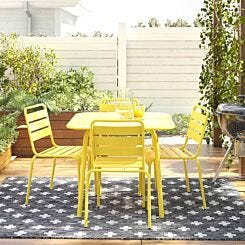 June Square Metal Dining Table Yellow