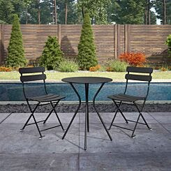 Bistro Set with Round Table and 2 Folding Chairs Black