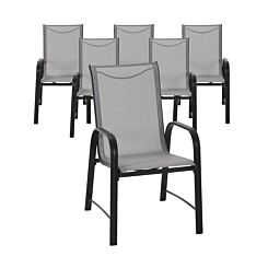 Paloma Steel Frame Outdoor Dining Chairs Pack of 6