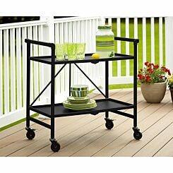 Intellifit Folding Serving Cart with 2 Shelves Black