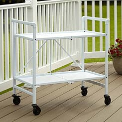 Intellifit Folding Serving Cart with 2 Shelves White