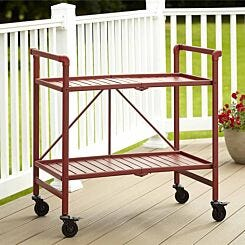 Intellifit Folding Serving Cart with 2 Slatted Shelves Red