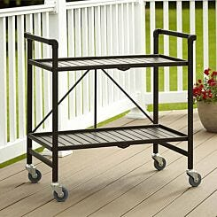 Intellifit Folding Serving Cart with 2 Slatted Shelves Brown