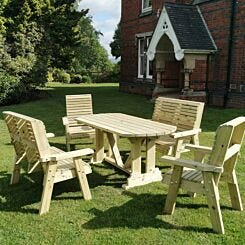 Hawthorn Outdoor Dining Set with 2 Chairs and 2 Benches