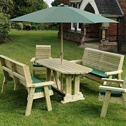 Hawthorn Outdoor Dining Set with 2 Chairs and 2 Large Benches