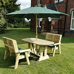Hawthorn Outdoor Dining Set with 2 Benches