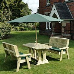 Hawthorn Outdoor Dining Set with 2 Large Benches