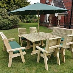 Hawthorn Outdoor Dining Set with 4 Chairs and 2 Large Benches