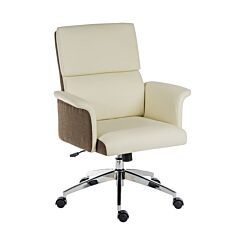 Teknik Office Elegance Medium Back Faux Leather Chair Cream