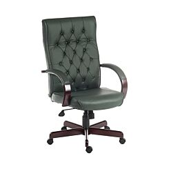 Teknik Office Warwick Traditional Executive Chair Bonded Leather Green