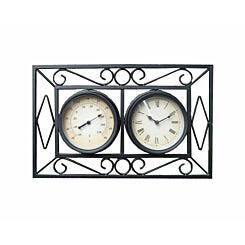Charles Bentley Metal Wall Mounted Framed Clock and Thermometer