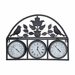 Charles Bentley Shabby Chic Wall Clock with Thermometer and Hygrometer