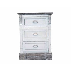Charles Bentley Shabby Chic 3 Drawer Bedside Table