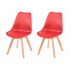 Aspen Upholstered Chair With Wood Legs Pack of 2 Red