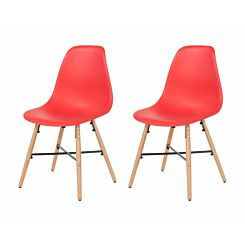 Aspen Plastic Chair With Metal Cross Rails Pack of 2 Red