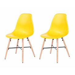 Aspen Plastic Chair With Metal Cross Rails Pack of 2 Yellow