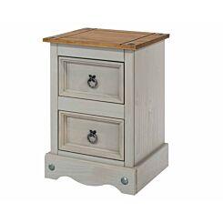 Corona Grey 2 Drawer Bedside Cabinet Petite