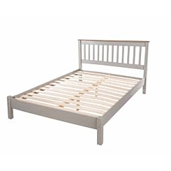 Corona Grey Wooden Slatted Double Bed Frame 4ft 6