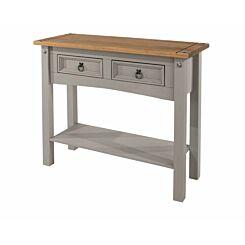 Corona Grey 2 Drawer Hallway Table with Shelf