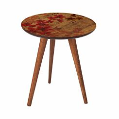 Inbox Round Wooden Side Table Red Flowers