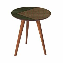 Inbox Round Wooden Side Table Green Geometric