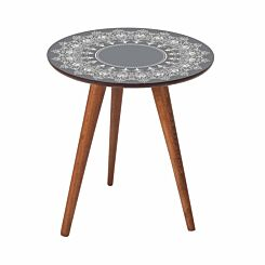 Inbox Round Wooden Side Table Grey Lace