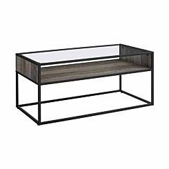Jaen Industrial Glass Coffee Table Grey