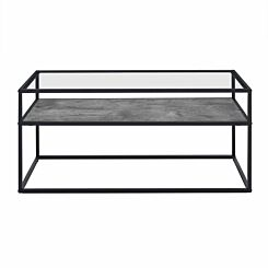Jaen Modern Glass Coffee Table with Reversible Shelf