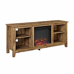 Ourense Rustic Farmhouse TV Stand with Fireplace