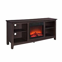Ourense Rustic Farmhouse TV Stand with Fireplace Dark Brown