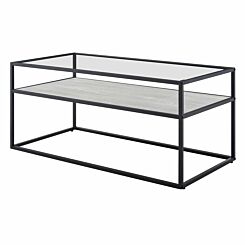 Jaen Modern Glass Coffee Table with Reversible Shelf Wood