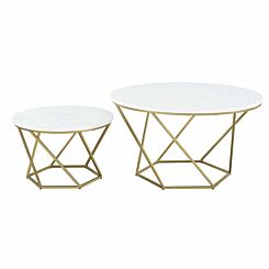 Pamplona Modern Nesting Tables Set of 2 White Marble