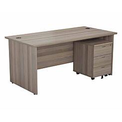 TC Office Panel End Desk and 3 Drawer Mobile Pedestal Bundle 1400 x 800mm Grey Oak Effect
