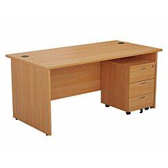 TC Office Panel End Desk and 3 Drawer Mobile Pedestal Bundle 1800 x 800mm