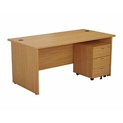 TC Office Panel End Desk and 3 Drawer Mobile Pedestal Bundle 1400 x 800mm Oak
