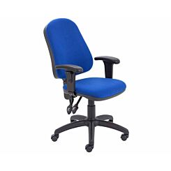 TC Office Calypso High Back Twin Lever Operator Chair with Height Adjustable Arms Royal Blue