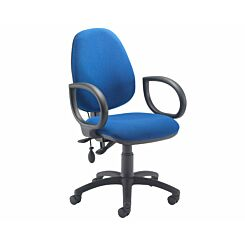 TC Office Calypso Twin Lever Ergonomic Chair with Lumbar Pump and Fixed Arms Royal Blue
