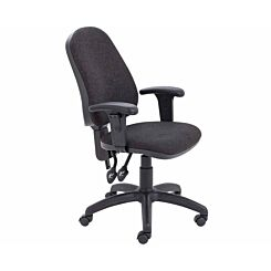TC Office Calypso High Back Twin Lever Operator Chair with Height Adjustable Arms Charcoal