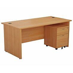 TC Office Panel End Desk and 2 Drawer Mobile Pedestal Bundle 1600 x 800mm