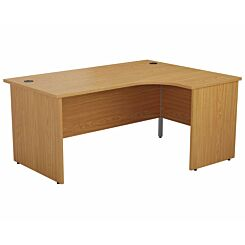 TC Office Right Hand Crescent Desk with Panel End Legs 1600 x 1200mm Oak