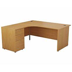 TC Office Left Hand Crescent Desk with Panel End Legs and Pedestal 1600 x 1200mm Oak