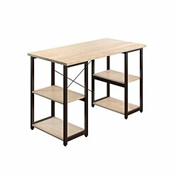 TC Office SOHO Home Working Desk with Square Shelves Oak